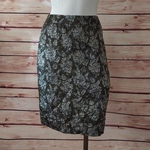 J Crew Metallic Silk Jaquard Floral Pencil Skirt